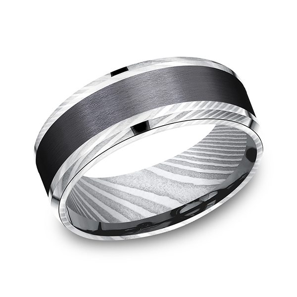 Black Titanium Comfort-fit Design Ring by Forge