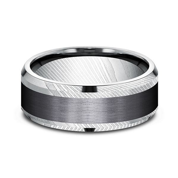 Wedding Bands - Black Titanium Comfort-fit Design Ring - image 2