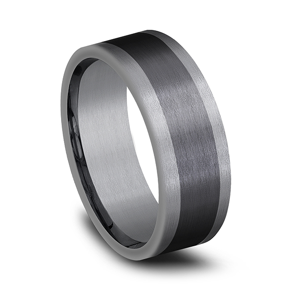 Wedding Bands - Tantalum and Black Titanium Comfort-fit Design Wedding Band - image 2