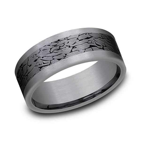 Alternative Metals - Tantalum and Black Titanium Comfort-fit Design Wedding Band