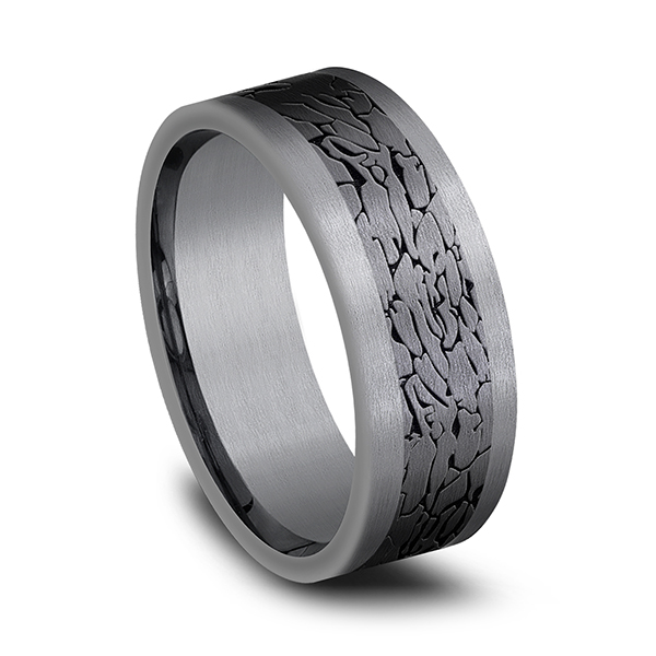 Alternative Metals - Tantalum and Black Titanium Comfort-fit Design Wedding Band - image #2