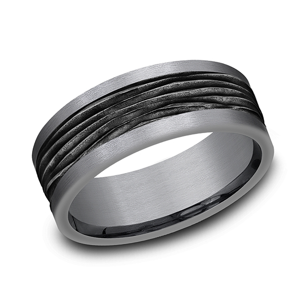 Wedding Bands - Tantalum and Black Titanium Comfort-fit Design Wedding Band