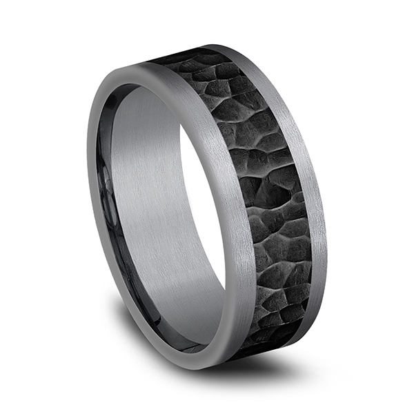 Rings - Tantalum and Black Titanium Comfort-fit Design Wedding Band - image #2
