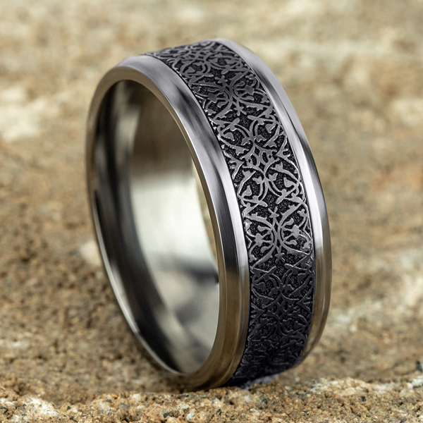 Wedding Bands - Tantalum and Black Titanium Comfort-fit Design Wedding Band - image #4