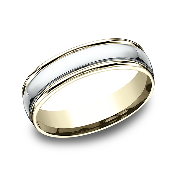 Men's Wedding Bands - Two Tone Comfort-Fit Design Ring - image 3