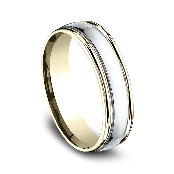 Men's Wedding Bands - Two Tone Comfort-Fit Design Ring - image 2