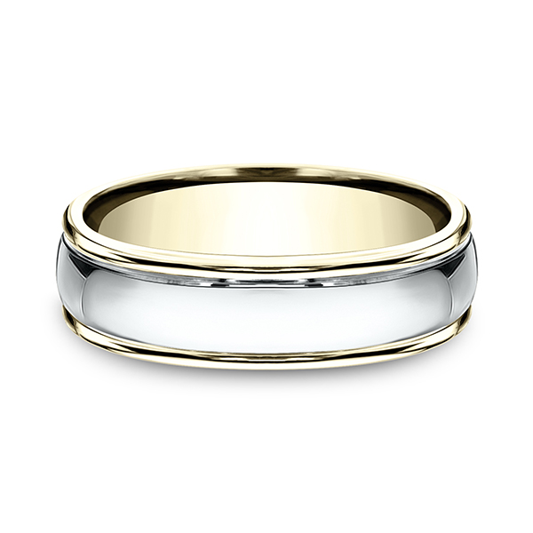 Men's Wedding Bands - Two Tone Comfort-Fit Design Ring
