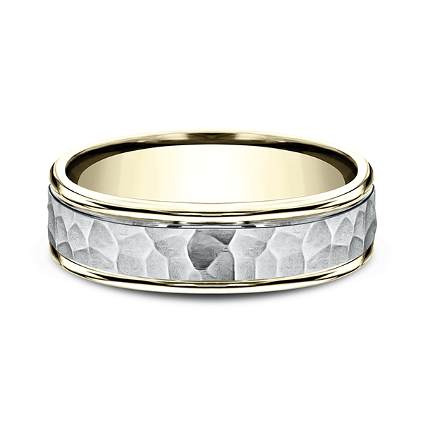 Gold - Two Tone Comfort-Fit Design Wedding Band - image #3