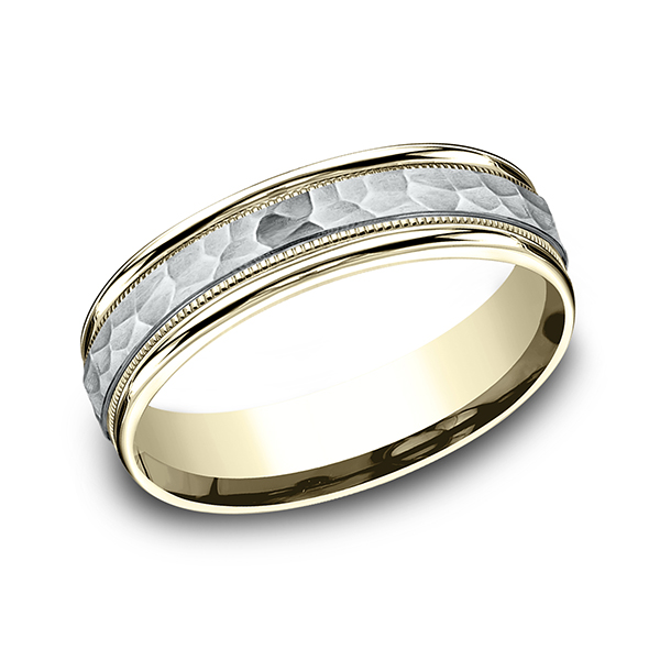Men's Wedding Bands - Two Tone Comfort-Fit Design Ring - image #3
