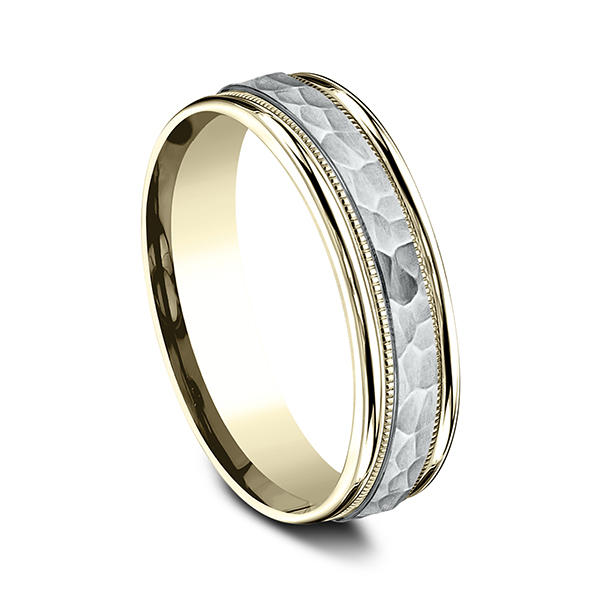 Men's Wedding Bands - Two Tone Comfort-Fit Design Ring - image #2