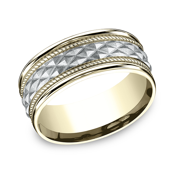Men's Wedding Bands - Two-Tone Comfort-Fit Design Ring - image #3