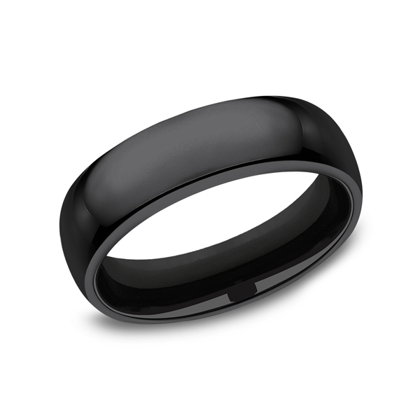 Wedding Bands - Black Titanium Comfort-Fit Design Wedding Band
