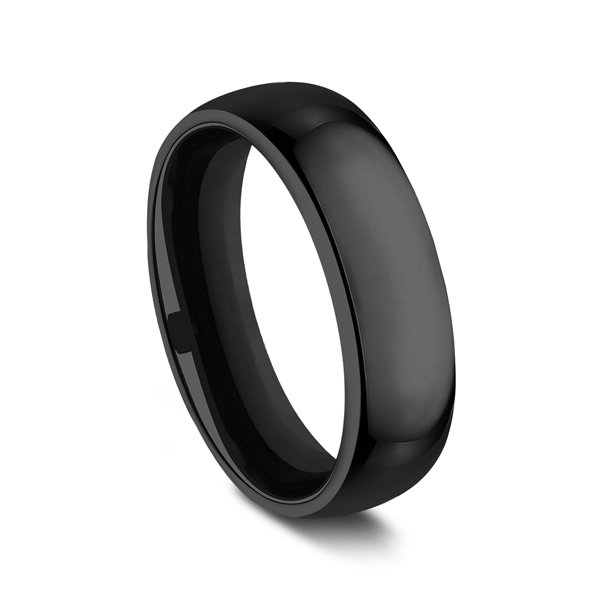 Men's Alternative Metal Wedding Bands - Black Titanium Comfort-Fit Design Wedding Band - image #2