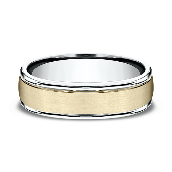 Men's Wedding Bands - Two Tone Comfort-Fit Design Wedding Ring - image 3