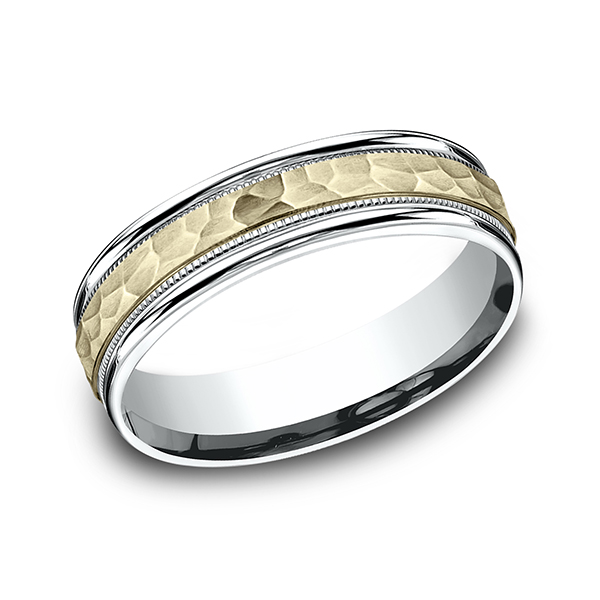 Men's Wedding Bands - Two Tone Comfort-Fit Design Wedding Band