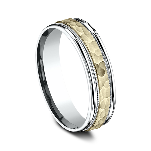 Gold - Two Tone Comfort-Fit Design Wedding Band - image 2