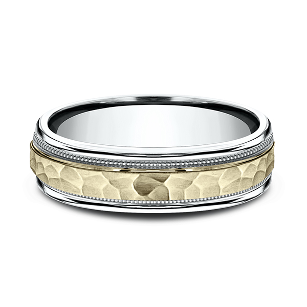 Gold - Two Tone Comfort-Fit Design Wedding Band - image 3