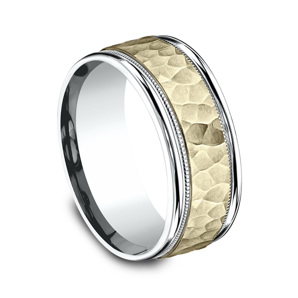 Men's Wedding Bands - Two Tone Comfort-Fit Design Wedding Ring - image 2