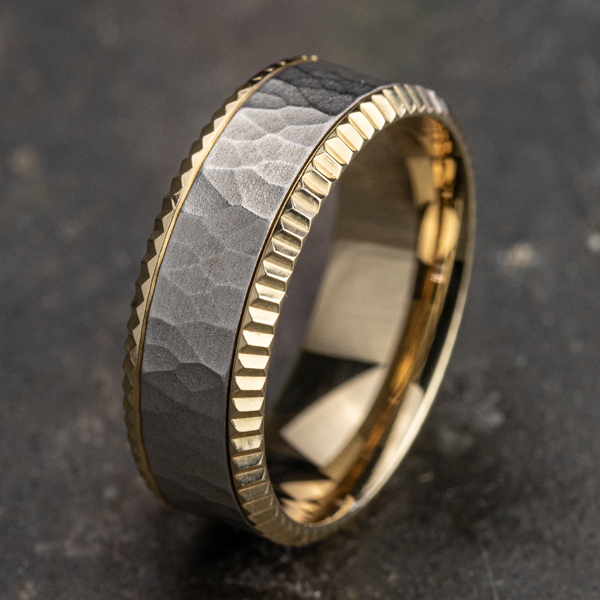 Two Tone Comfort-Fit Design Wedding Ring Image 4  ,