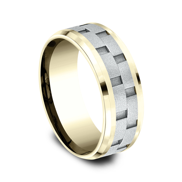 Men's Wedding Bands - Two-Tone Comfort-Fit Design Wedding Ring - image 2