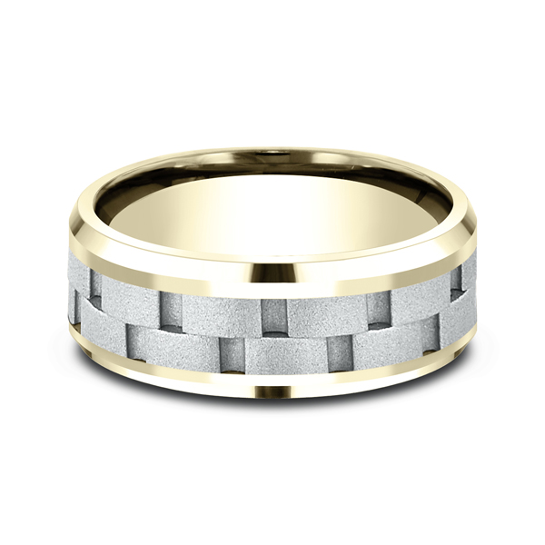 Men's Wedding Bands - Two-Tone Comfort-Fit Design Wedding Ring - image 3