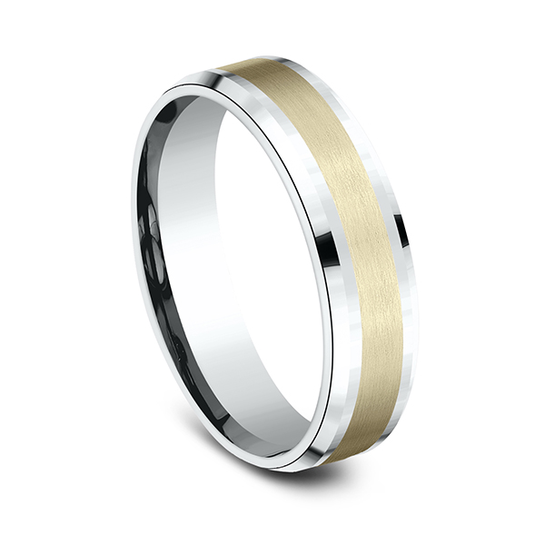 Men's Wedding Bands - Two Tone Comfort-Fit Design Wedding Band - image #2