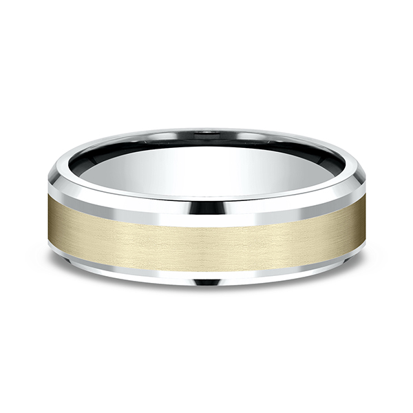 Men's Wedding Bands - Two Tone Comfort-Fit Design Wedding Band - image #3