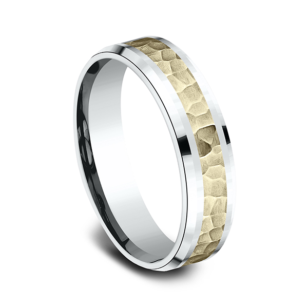 Wedding Bands - Two Tone Comfort-Fit Design Ring - image #2