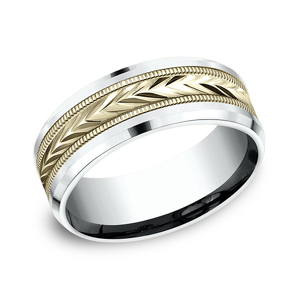 Wedding Bands - Two-Tone Comfort-Fit Design Wedding Band