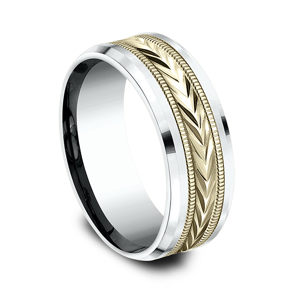 Men's Wedding Bands - Two-Tone Comfort-Fit Design Ring - image #2