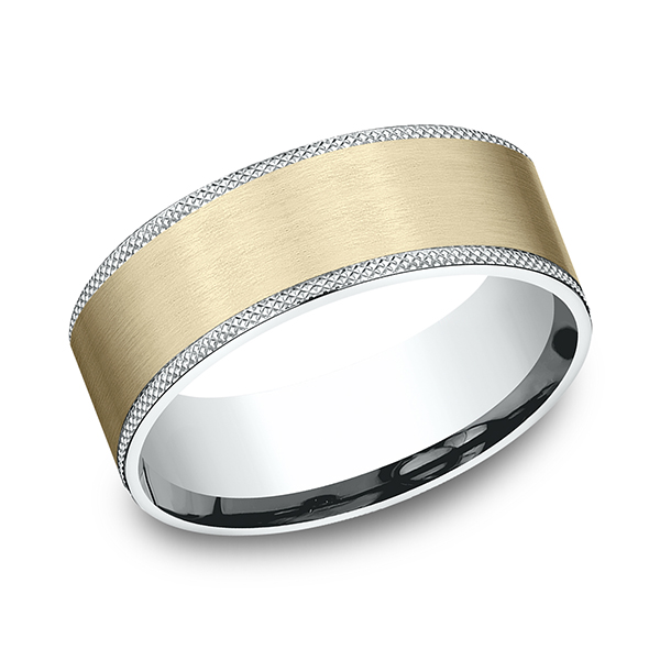 Men's Wedding Bands - Two-Tone Comfort-Fit Design Wedding Band