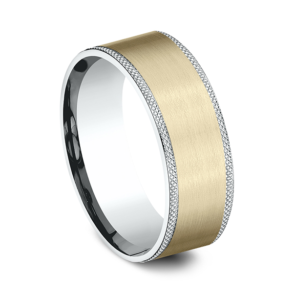 Wedding Bands - Two-Tone Comfort-Fit Design Wedding Band - image #2