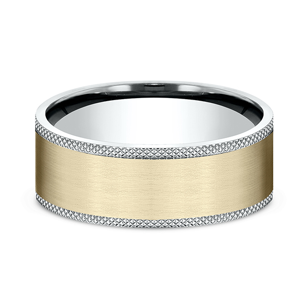 Men's Wedding Bands - Two-Tone Comfort-Fit Design Ring