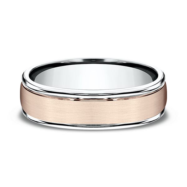 Wedding Bands - Two Tone Comfort-Fit Design Wedding Ring - image #3