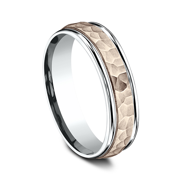 Rings - Two Tone Comfort-Fit Design Wedding Band - image #2