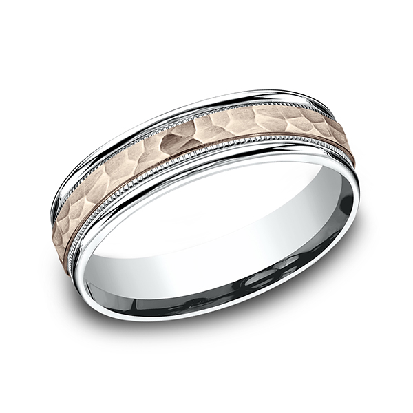 Men's Wedding Bands - Two Tone Comfort-Fit Design Wedding Ring