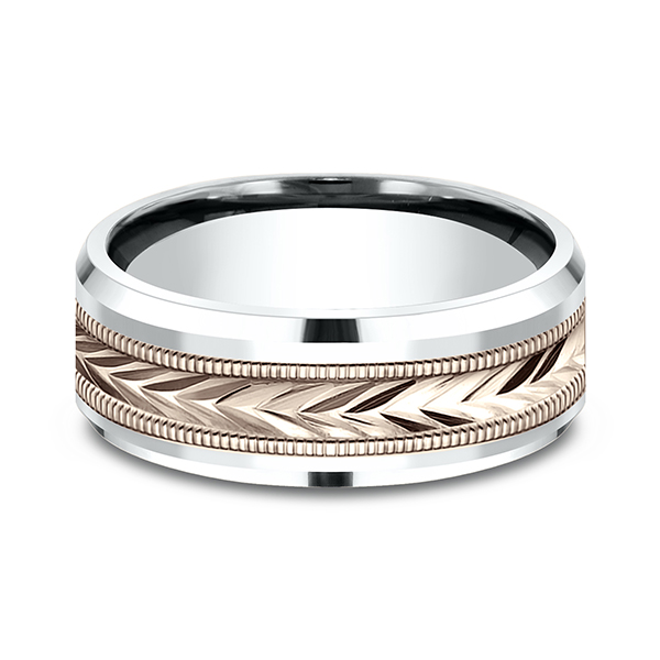Wedding Bands - Two-Tone Comfort-Fit Design Wedding Band - image #3