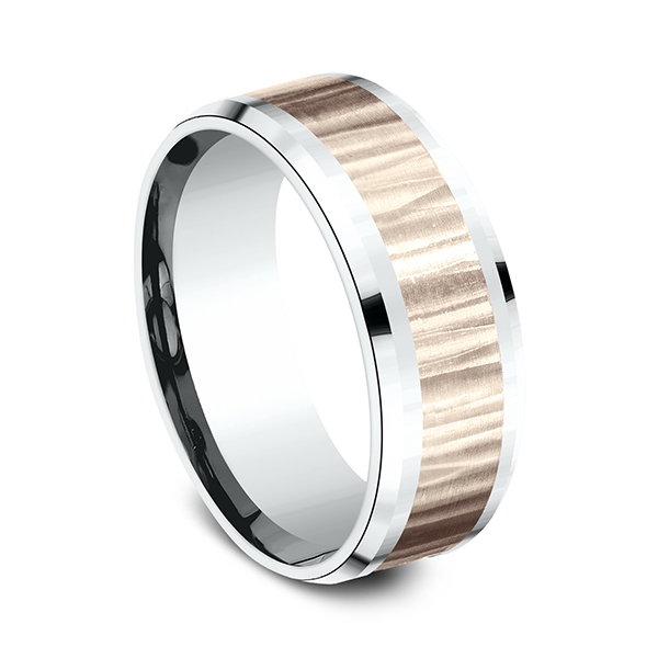 Wedding Bands - Two Tone Comfort-Fit Design Wedding Ring - image 2