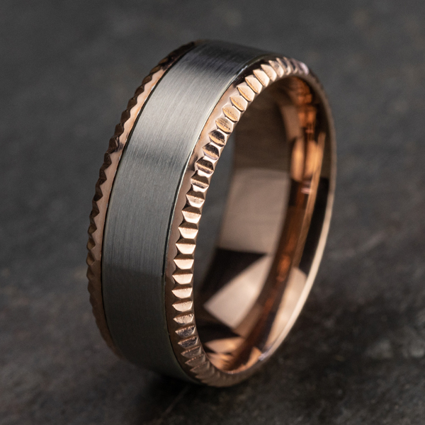 Two Tone Comfort-Fit Design Wedding Ring Image 4 Holly McHone Jewelers Astoria, OR