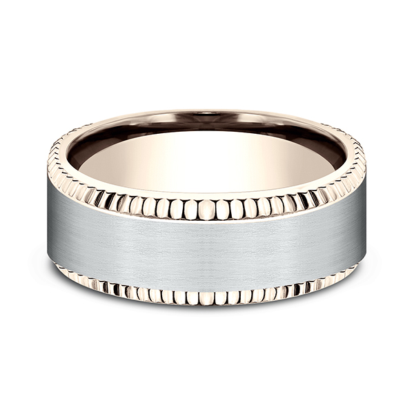 Wedding Bands - Two Tone Comfort-Fit Design Wedding Ring - image 3