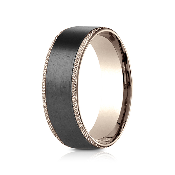 side gold black wedding sandblasted tungsten fit comfort rings groove band dome rose ring mens with