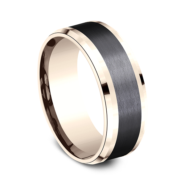 Gold - Ammara Stone Comfort-fit Design Wedding Band - image 2