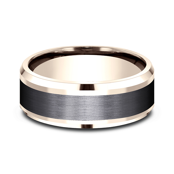 Gold - Ammara Stone Comfort-fit Design Wedding Band - image #3