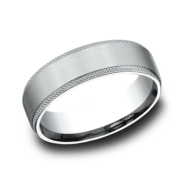 Alternative Metals - Ammara Stone Comfort-fit Design Wedding Band