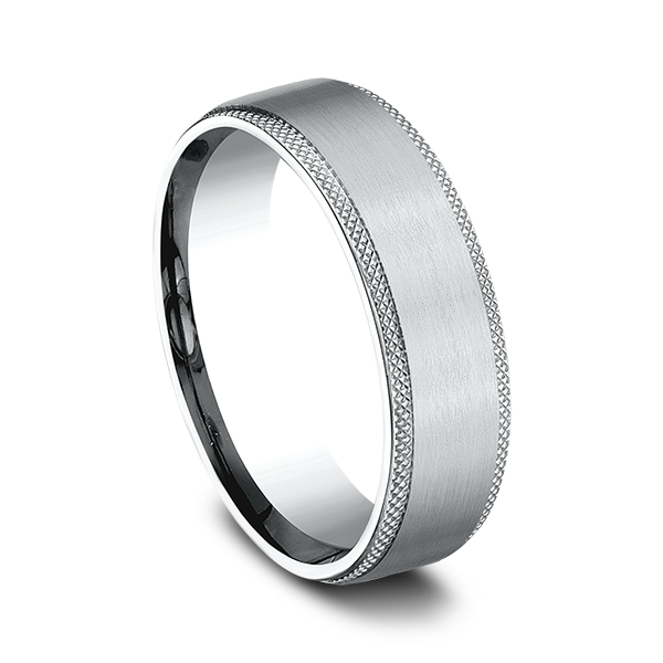 Alternative Metals - Ammara Stone Comfort-fit Design Wedding Band - image #2
