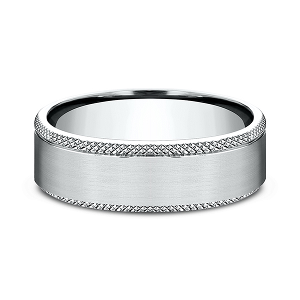 Alternative Metals - Ammara Stone Comfort-fit Design Wedding Band - image #3