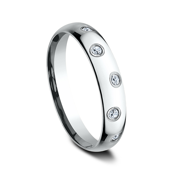Men's Wedding Bands - Comfort-Fit Diamond Ring - image #2