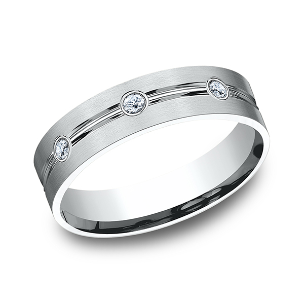 Men's Wedding Bands - Comfort-Fit Diamond Ring - image #3