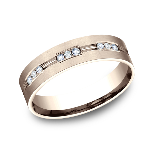 Men's Wedding Bands - Comfort-Fit Diamond Wedding Band