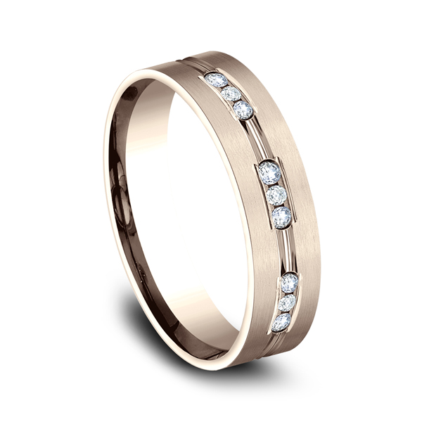 Men's Wedding Bands - Comfort-Fit Diamond Wedding Band - image 2